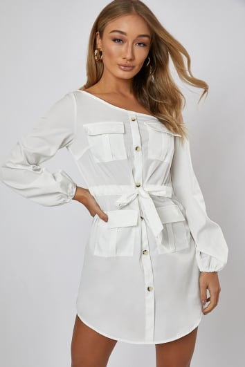 FABRIZIAH WHITE OFF THE SHOULDER SHIRT DRESS