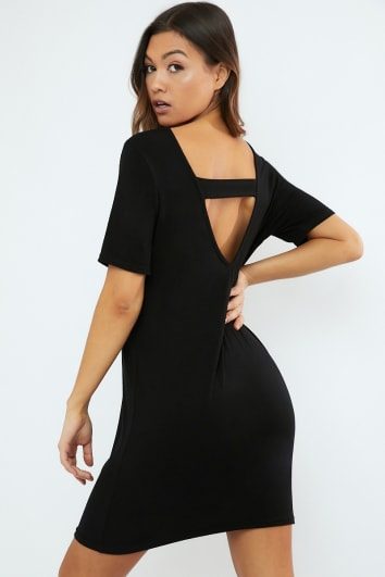 CYNDIA BLACK PLUNGE BACK T SHIRT DRESS