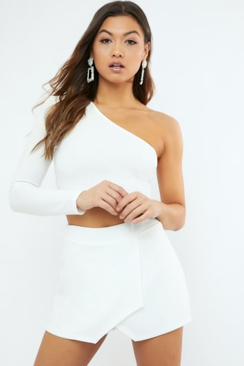 NILLINA WHITE CREPE ONE SHOULDER CROP TOP CO-ORD