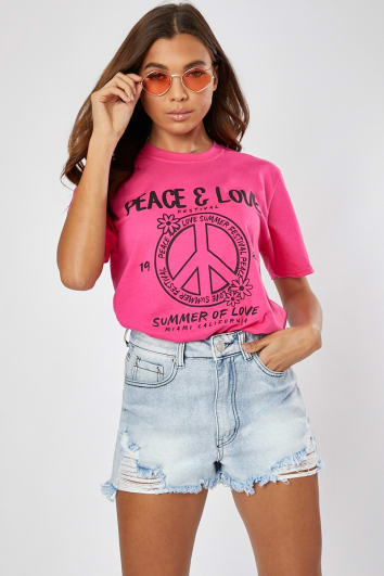 PINK PEACE & LOVE OVERSIZED T SHIRT