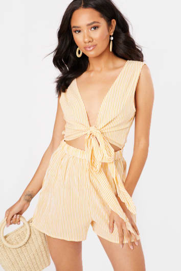 NAHIAN YELLOW STRIPE TIE FRONT PLAYSUIT
