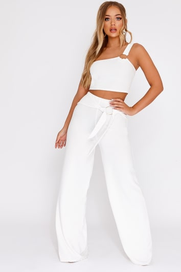 BILLIE FAIERS WHITE RING DETAIL PALAZZO TROUSERS CO-ORD