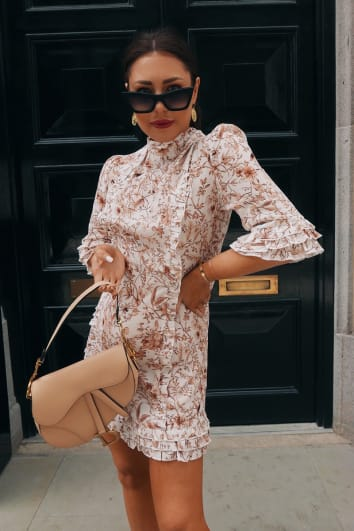 LORNA LUXE 'PRACTICALLY PERFECT' PORCELAIN NUDE FRILL DETAIL DRESS