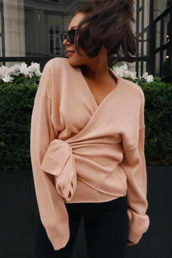 LORNA LUXE 'BUT FIRST' BLUSH WRAP CARDIGAN