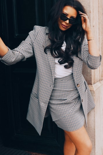 LORNA LUXE 'SORRY I MISSED YOUR CALL' CHECK BROWN MINI SKIRT CO-ORD