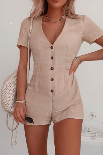 FASHION INFLUX STONE BUTTON DOWN SHORT SLEEVED PLAYSUIT