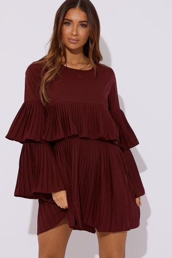 CRYSTELE WINE PLEATED MINI DRESS