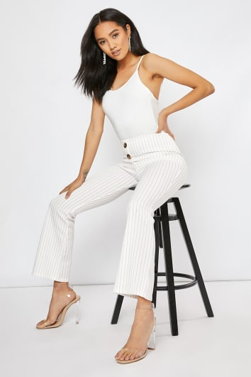 ONALLA WHITE RED PINSTRIPE WIDE LEG TROUSERS CO ORD