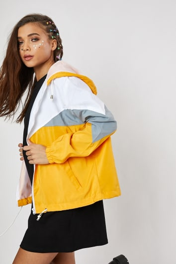 TERESAH MUSTARD COLOUR BLOCK WINDBREAKER