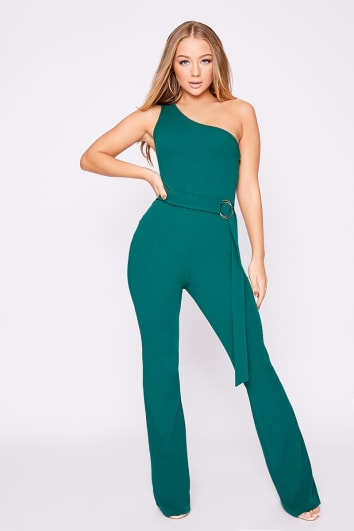 BILLIE FAIERS GREEN ONE SHOULDER RING DETAIL PALAZZO JUMPSUIT