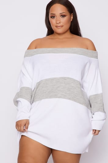 CURVE DANI DYER GREY BARDOT STRIPED JUMPER DRESS