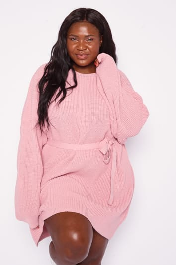 CURVE DANI DYER PINK BELTED OVERSIZED JUMPER DRESS