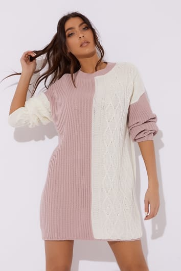DANI DYER PINK CONTRAST OVERSIZED JUMPER DRESS