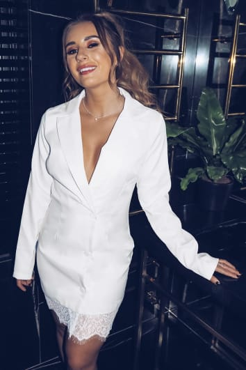 DANI DYER WHITE LACE TRIM BLAZER DRESS