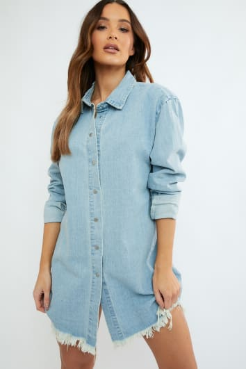 JUMANJI WASHED BLUE FRAYED HEM DENIM OVERSIZED SHIRT DRESS