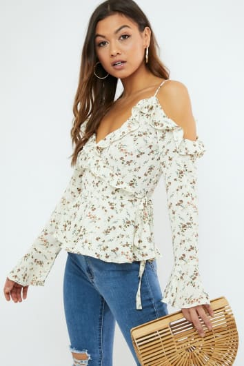 MYROL CREAM FLORAL FRILL COLD SHOULDER WRAP BLOUSE