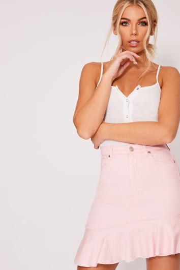 NADENKA PINK FRILL ASYMMETRIC HEM DENIM MINI SKIRT