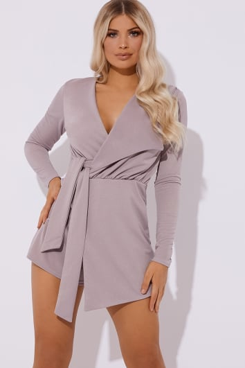 FRANKLYN MAUVE PLUNGE WRAP OVER PLAYSUIT