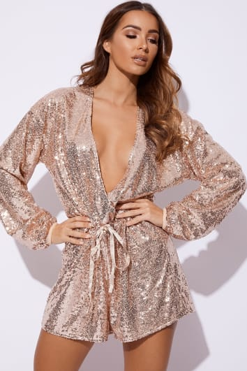 EISSY ROSE GOLD SEQUIN PLUNGE PLAYSUIT