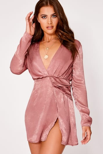 SARAH ASHCROFT MAUVE SATIN DRAPED PLUNGE MINI DRESS