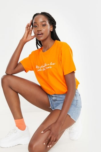 CHESSIE KING ORANGE 'HATE LESS, LOVE MORE' BOYFRIEND FIT T SHIRT