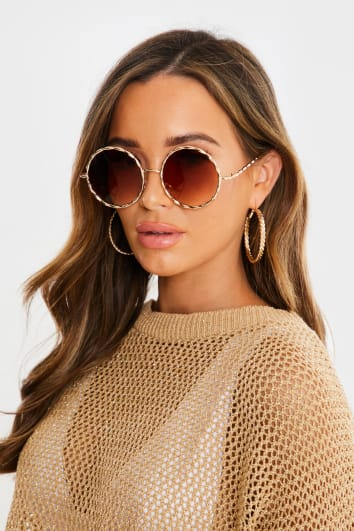 GOLD METAL EDGED ROUND SUNGLASSES