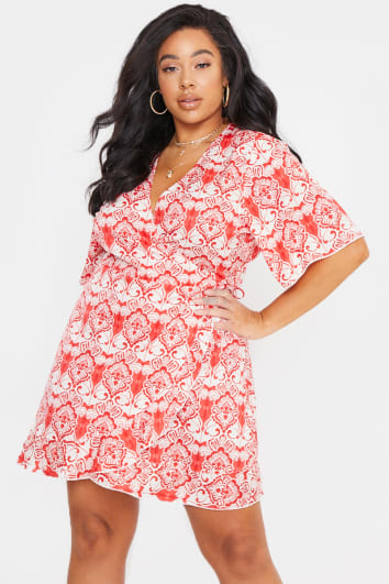 CURVE BILLIE FAIERS RED BAROQUE PRINT WRAP TEA DRESS