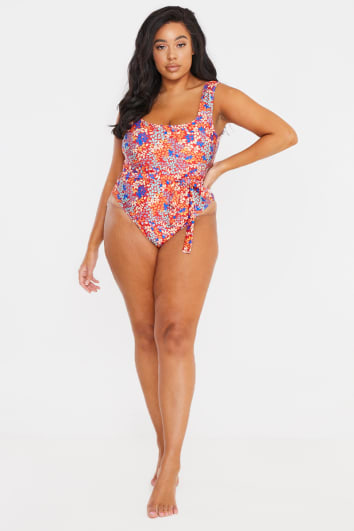 CURVE BILLIE FAIERS RED LEAF PRINT BELTED SCOOP NECK SWIMSUIT