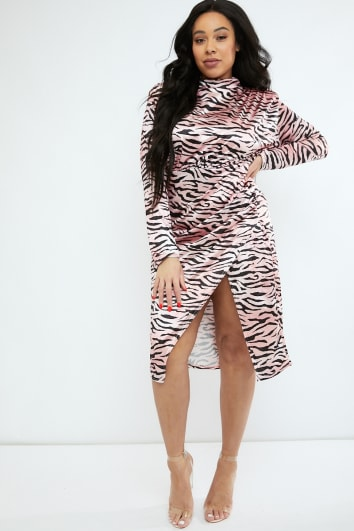 CURVE EMILY ATACK PINK TIGER PRINT HIGH NECK SPLIT FRONT MIDI DRESS