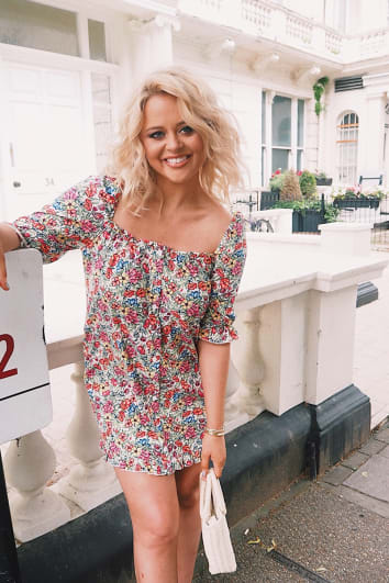 EMILY ATACK WHITE FLORAL PUFF SLEEVE BUTTON DOWN DRESS