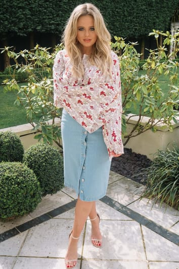 EMILY ATACK DENIM BUTTON DOWN MIDI SKIRT