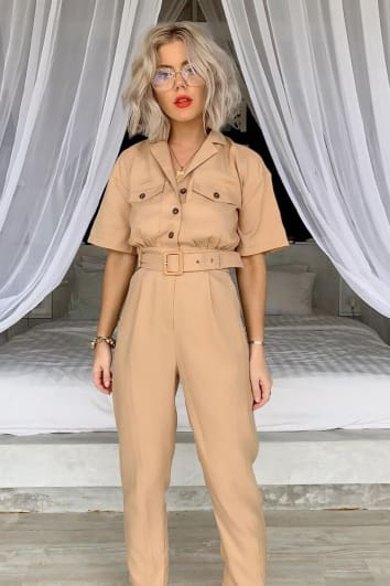 LAURA JADE TAN TAPERED LEG UTILITY JUMPSUIT