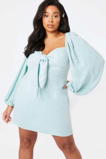 CURVE LORNA LUXE GREEN PUFF SLEEVE TIE FRONT MINI DRESS