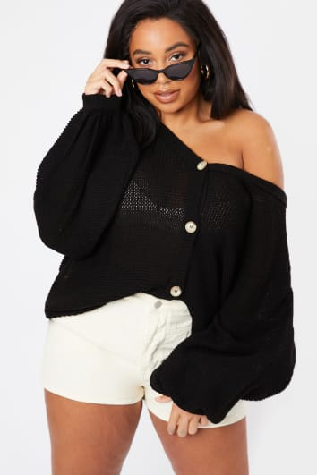 CURVE LORNA LUXE 'LOVE FOOL' BLACK BALLOON SLEEVE OVERSIZED CARDIGAN