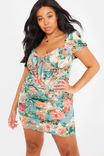 CURVE FASHION INFLUX GREEN FLORAL TIE FRONT RUCHED MINI DRESS