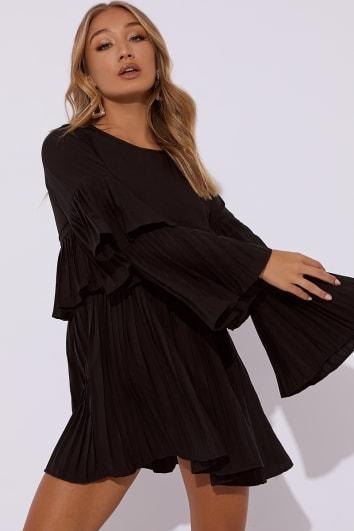 CRYSTELE BLACK PLEATED MINI DRESS