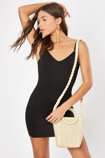 BEE BLACK V NECK BODYCON CAMI DRESS