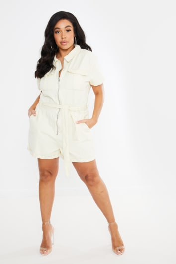 CURVE FASHION INFLUX ECRU DENIM SHORT SLEEVED OVERSIZED PLAYSUIT