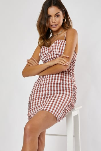CHERMONA BROWN GINGHAM RUCHED MINI DRESS