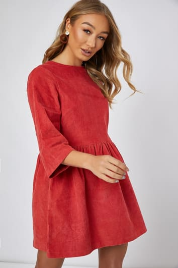 ADDILYNE RUST CORD SMOCK MINI DRESS
