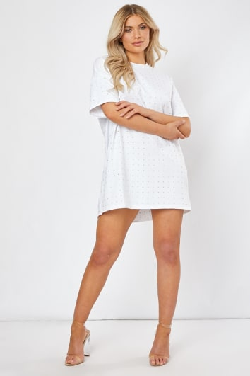 VADAH WHITE RHINESTONE T SHIRT DRESS