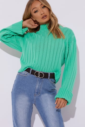 ADINIA GREEN RIBBED HIGH NECK SLOUCHY JUMPER
