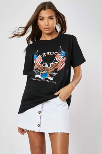 BLACK FREEDOM GRAPHIC OVERSIZED T SHIRT
