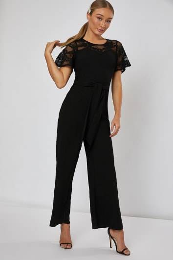 JORDAN BLACK LACE WRAP FRONT WIDE LEG JUMPSUIT