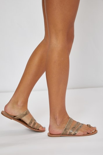 KELEENI SNAKE MULTI STRAP DETAIL SLIDERS