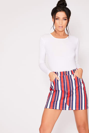KAITLIN RED STRIPE HIGH WAISTED DENIM MINI SKIRT