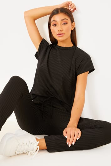 CHARMAINE BLACK RIBBED T SHIRT AND JOGGERS