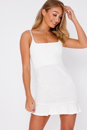 DYANIE WHITE FRILL HEM BODYCON DRESS