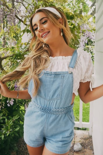 DANI DYER LIGHT WASH DENIM DUNGAREES