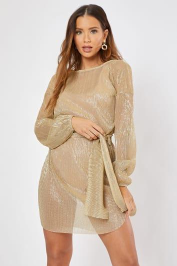 REEM GOLD METALLIC SHEER TIE WAIST SHIFT DRESS